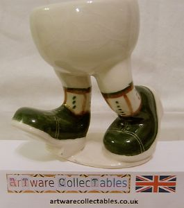 Carlton Ware Lustre Pottery Walking Ware Dark Green Shoes Running Eggcup & Stand - SOLD